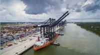 Port Houston's newest ship-to-shore cranes stand nearly 30 stories tall with a boom length of 211 ft. able to load and unload vessels up to 22 containers wide. (Photo: Business Wire)