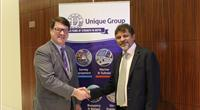 Left to right: Konrad Mech, Director of Subsea Channel Management at Kongsberg Maritime AS, and Harry Gandhi, CEO of Unique Group (Photo: Unique Group)