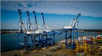 A newly-raised crane is repositioned from the work site back to the wharf to return to service in Charleston, S.C. (Photo: ZPMC)