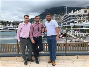 (l-r): Richard Hooson, Sam Slater and Greg Beach on a recent client visit to Monaco. (Photo: The Landing)